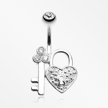 Key to My Heart's Lock Belly Button Ring