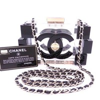 Auth CHANEL LEGO SS 2013 Chain Shoulder Bag Clutch Clear/Black *RARE* - e30496