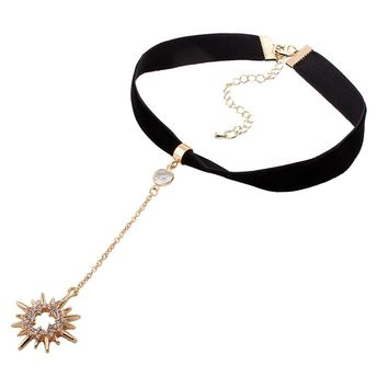 2017 Charm Crystal Sun Moon pendant Necklace Leather Snap Collars Chokers Necklace Fashion DIY jewlery wholesale Torques