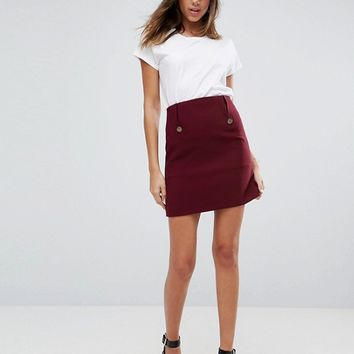 ASOS Highwaist Military Button Mini at asos.com