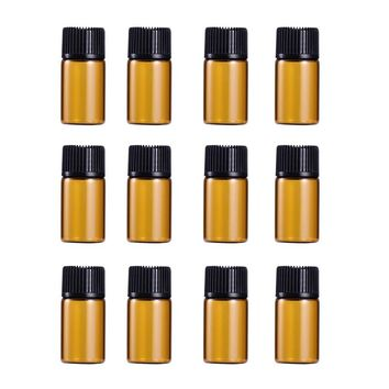 12 PC 2ml Mini Amber Glass Vial Bottles with Orifice Reducer and Cap for Essential Oils Chemistry Lab Chemicals Colognes & Perfumes by Super Z Outlet