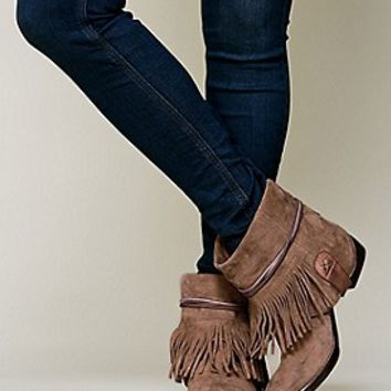 Free People Womens Lonesome Fringe Ankle Boot - Black, 3