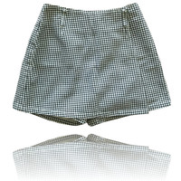 90s Black and White High Waisted Gingham Print Skort // Forewarned // Size 10
