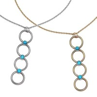 3mm Blue CZs Circles Pendant on Necklace