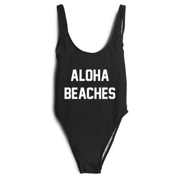 ALOHA BEACHES Black High Cut One Piece Bathing Suit