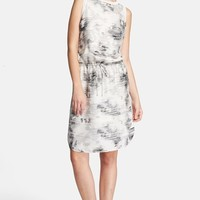 Women's Vince Print Drop Waist Silk Dress