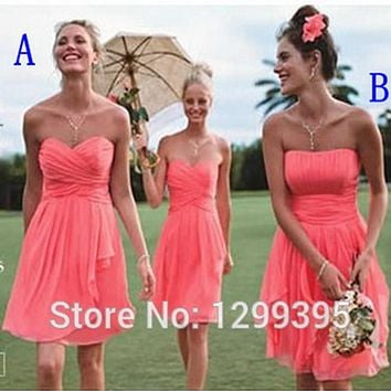 Short Real Chiffon Short Coral Bridesmaid Dresses for Wedding Dress Simple Above Knee Cheap Bridesmaid Dresses under 50