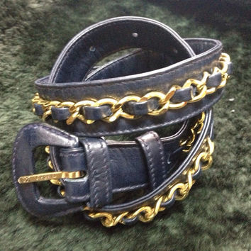 "Vintage CHANEL navy leather belt with gold tone chains. Must-have belt from CHANEL. size 69 ~ 75 , 27"", 28"", 29"", 29.5"""