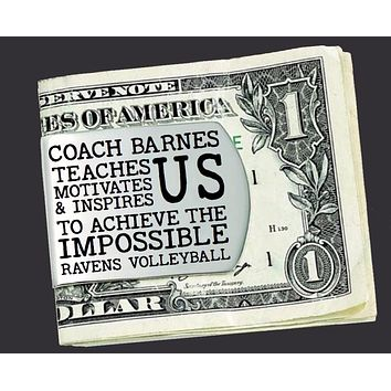 Volleyball Coach Personalized Money Clip | Coach Gift