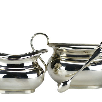 Silver Plated Creamer and Sugar Bowl with Tongs Antique English Early 1900s