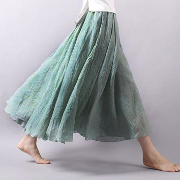 2018 Fashion Casual Women Cotton Linen Summer Skirts Elastic Waist Green Female Maxi Long Skirts Boho A-line Pleated Beach Skirt