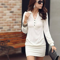 Women Sexy Solid Color Cotton Slim Hip Dress = 1646038596
