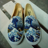 Custom Shoes ,The Great Wave off Kaganawa by Hokusai