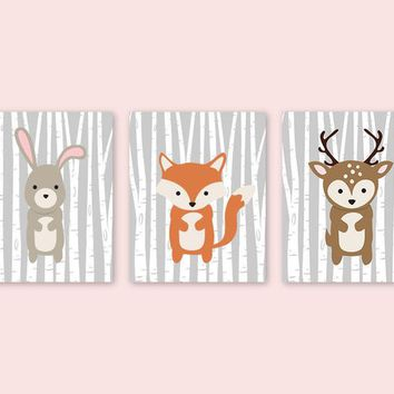 Animal Nursery Pictures Bunny Fox Deer Nursery Decor Woodland Creatures Birch Forest Friends Baby Room Decor