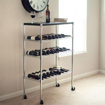 Rolling Chrome Wine Rack Cart Portable Bar