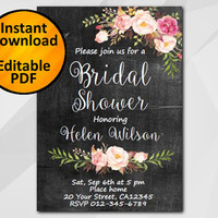 Editable Bridal Shower Invitation, Chalkboard Invitation, Instant Download diy wedding, etsy Bridal Shower invitation XB002c4