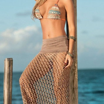 New Women Sexy Bathing Suit Crochet Hollow Swimwear Bikini Cover Up Beach Dress = 1956839940