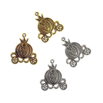 Antique Style Metal Princess Carriage Charms, 1-1/2-Inch, 10-Piece