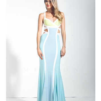 Mignon VM1443 Mist Blue Color Block Cut Out Dress 2015 Prom Dresses