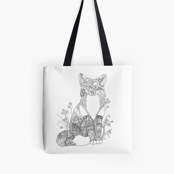 Totes, Color Your Own Tote Bag, Tote, Canvas Tote Bags, Market Bags, Grocery Bags, Christmas Gift, Adult Coloring, Bag, Bags, fox art