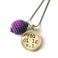 Crocus Purple Amethyst Crochet Ball Drop Dewey Decimal Necklace Sterling Silver Chain One of a Kind