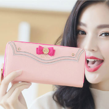 2016 New Samantha Vega Sailor Moon Ladies Long Zipper Female Bag Women Brand Leather Kawaii Pink Wallet Purse Portefeuille Femme