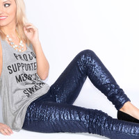 SZ SMALL Puttin' On The Glitz Navy Sequin Leggings