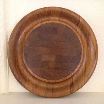 Dansk Designs Denmark Round Teak Cutting Board or Cheese Serving Tray Mid Century Modern Danish Design IHQ Jens Quistgaard
