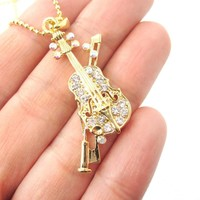 Realistic Miniature Musical Instrument Violin Shaped Pendant Necklace in Gold