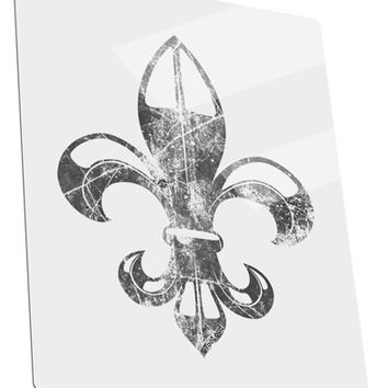 Distressed Fleur de Lis Metal Panel Wall Art Portrait - Choose Size