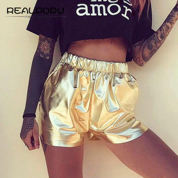 Realpopu 2017 Summer Solid Golden Sexy Shorts Sort Casual Beach High Waist Elastic Pockets Shiny Fitness Mini Women Short Pants