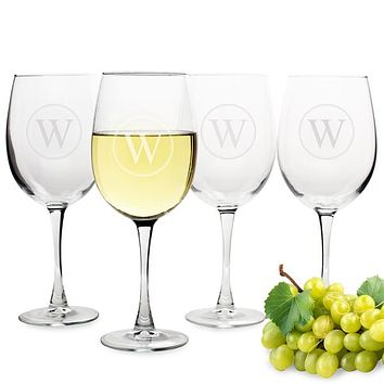 Personalized Circle Initial White Wine Glasses (Set of 4)