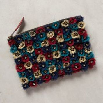 Flowerbed Pouch by Anthropologie Black Motif One Size Clutches