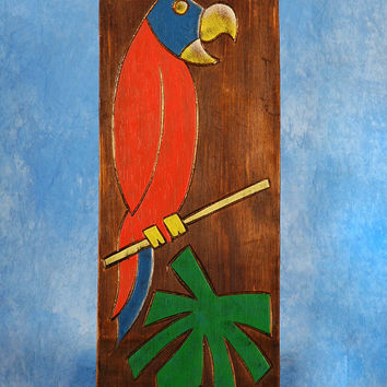 """BIRD & PALM LEAF"" RELIEF - 20"" CARVED & PAINTED - OCEANIC ART"