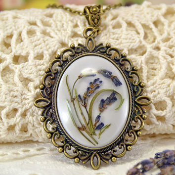 Lavender Pendant Real Dry Flower in Epoxy Resin Great gift Handmade Lavender Pendant