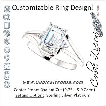Cubic Zirconia Engagement Ring- The Erma (Customizable Radiant Cut 3-stone Style with Small Round Cut Accents and Tapered Split Band)