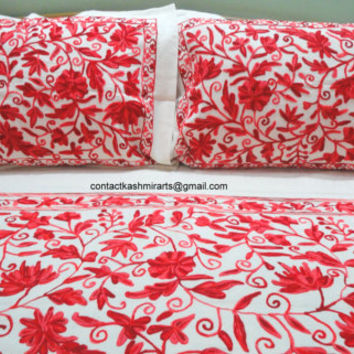 Red Bedding/Embroidered Red Bedspread/Luxury red bed cover/vine red/Floral red Bedspread/Blood Red bedspread/Hot Red king size bedding/Queen