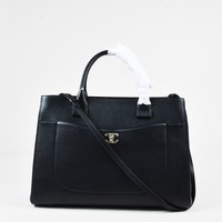 "Chanel 17C Black Calfskin Leather ""Shopping"" Top Handle Tote Bag"