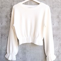 MINKPINK - Maddie Frill Hem Knit Cropped Sweater - Cream