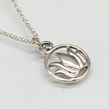 Silver Lotus Necklace, Circle Lotus in Sterling Silver, Buddhist Jewelry, Yoga Jewelry, Buddhist necklace, Yoga necklace