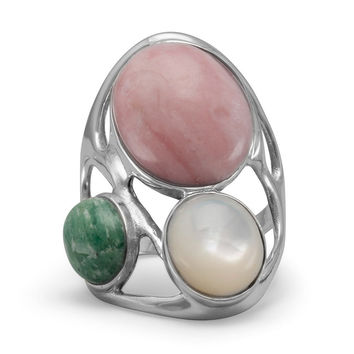 Pearl, Pink Opal and Amazonite Geometric Design Ring Sterling Silver