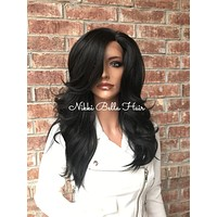 """Dark Brown 16"""" Human Hair Blend Multi Parting Lace Front Wig"""