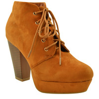 Womens Ankle Boots Lace Up Chunky Heel Faux Suede Platform Shoes Tan