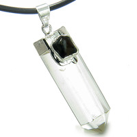 Astrological Leo Amulet Crystal Point Black Onyx Rock Quartz Leather Pendant Necklace