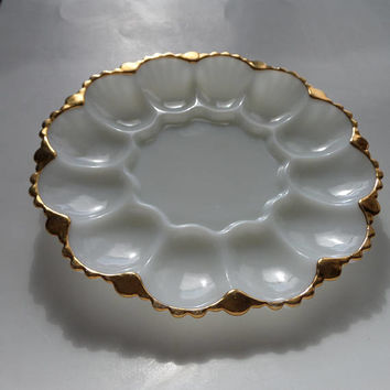 Anchor Hocking Egg or Oyster Plate, Vintage 1950's Milk Glass with 22K Gold Trim