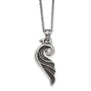 Stainless Steel Antiqued and Polished with Crystal Wing Necklace 18in