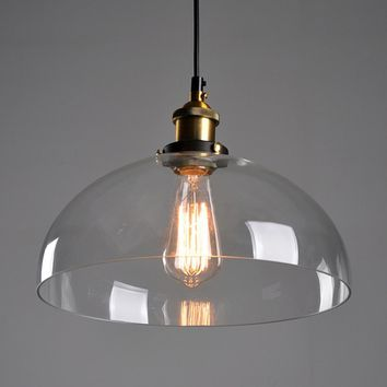 Antique DIY Ceiling Lamp Crystal Clear Glass Cover Pendant Lighting Edison Bulb