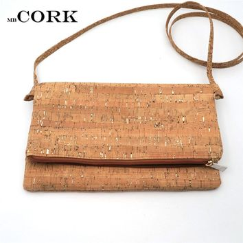 Natural cork with silver crossbody bag shoulder foldover bag clutch vegan leather Cork bags Wooden vintage bag-214