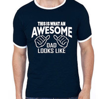 This is What an Awesome Dad Looks Like Men Ringer T-shirt | Awesome Dad | Dad Gift | Fathers Day Gifts