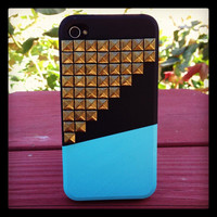 Studded Iphone 4 Case, Studded iPhone 4s Case with Bronze Studs,Unique Iphone 4 s Cases, Black Blue